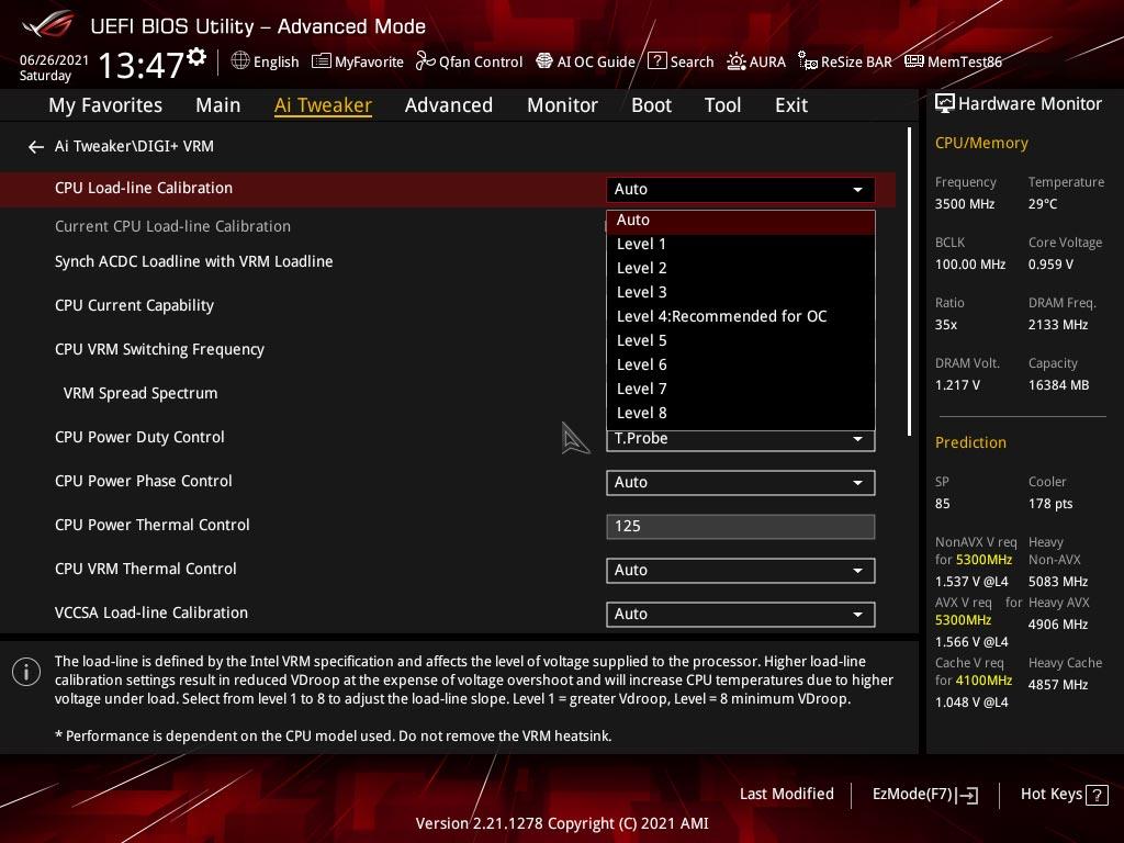 BIOS de la carte mère ROG Strix Z590-E Gaming Wifi d'Asus